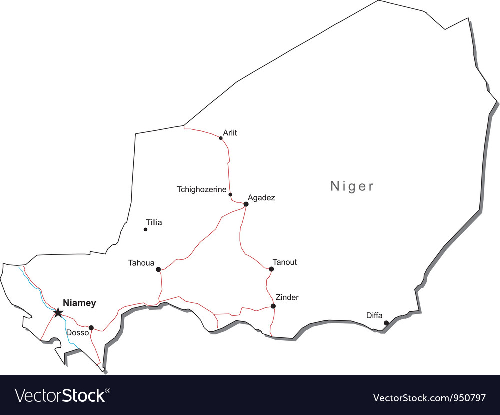 Niger black white map vector | Price: 1 Credit (USD $1)