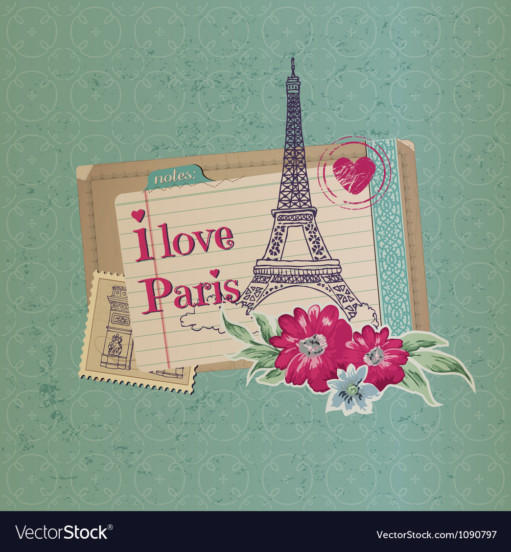 Paris vintage card vector | Price: 3 Credit (USD $3)