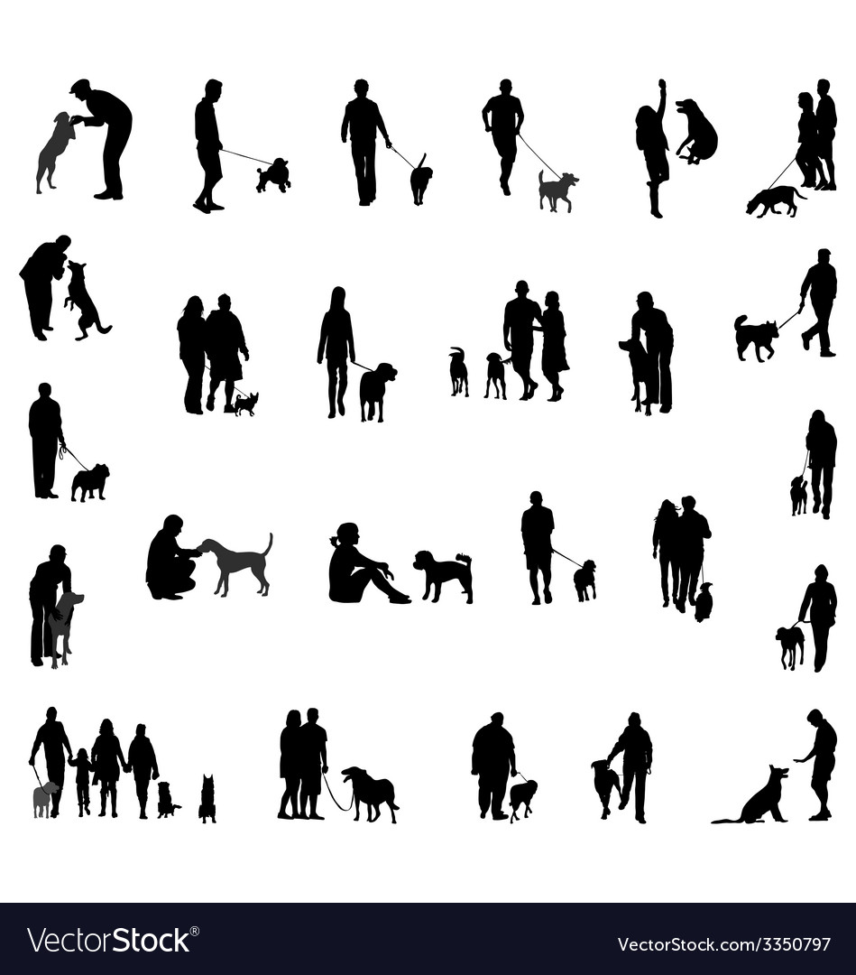 People with dog vector   Price: 1 Credit (USD $1)