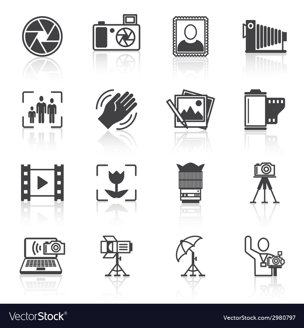 Photography icons black vector | Price: 1 Credit (USD $1)
