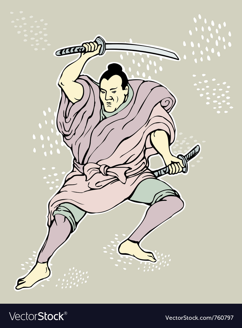 Samurai warrior with katana sword vector | Price: 1 Credit (USD $1)
