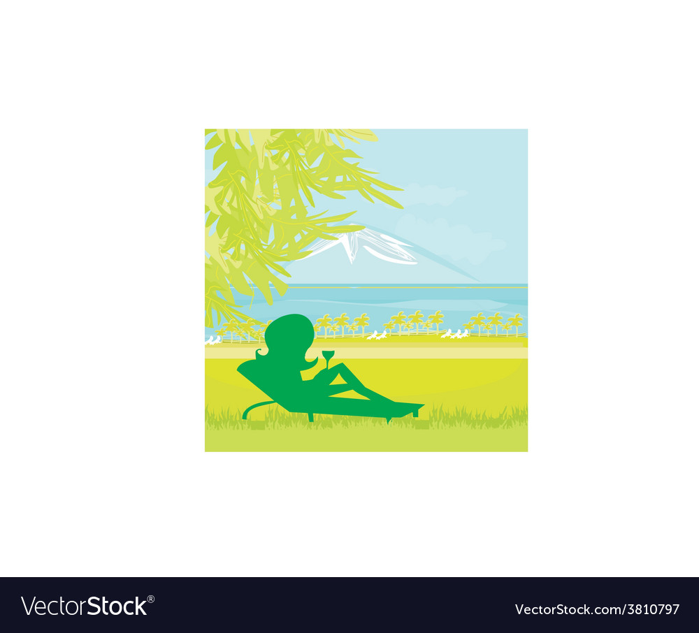 Silhouette of girl sunbathing vector | Price: 1 Credit (USD $1)