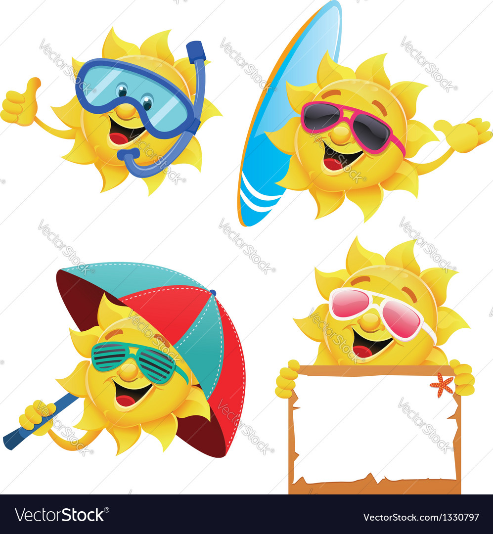 Sun characters vector | Price: 1 Credit (USD $1)