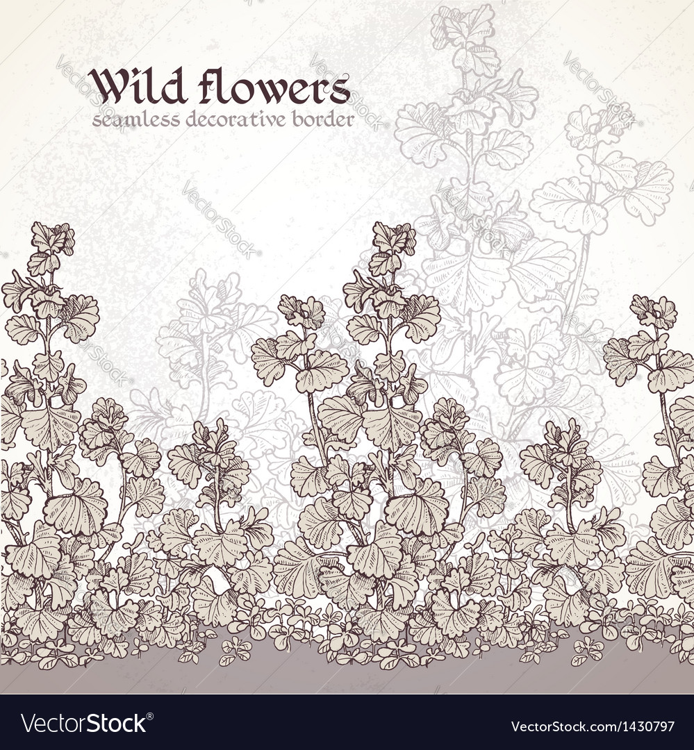 Wild flowers field seamless decorative border vector | Price: 1 Credit (USD $1)