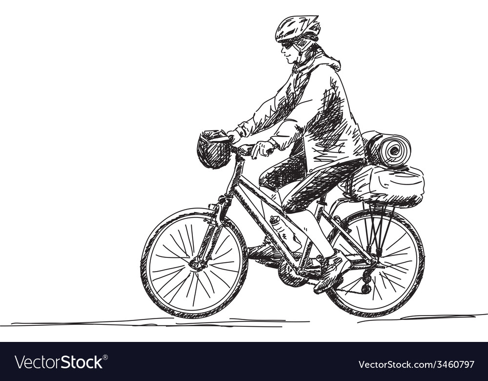 Woman travel on bicycle vector | Price: 1 Credit (USD $1)
