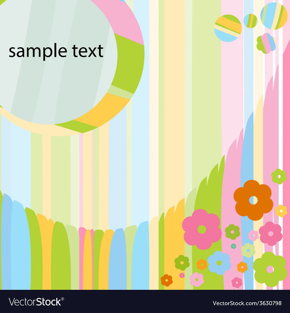 Card for baby girl with colorful flowers vector | Price: 1 Credit (USD $1)