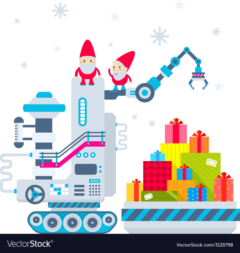 Christmas of the gnome operates the machine vector | Price: 1 Credit (USD $1)