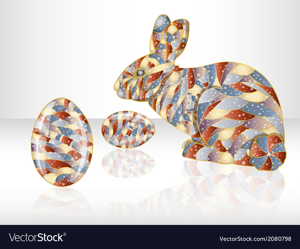 Colorful easter eggs and rabbit vector | Price: 1 Credit (USD $1)