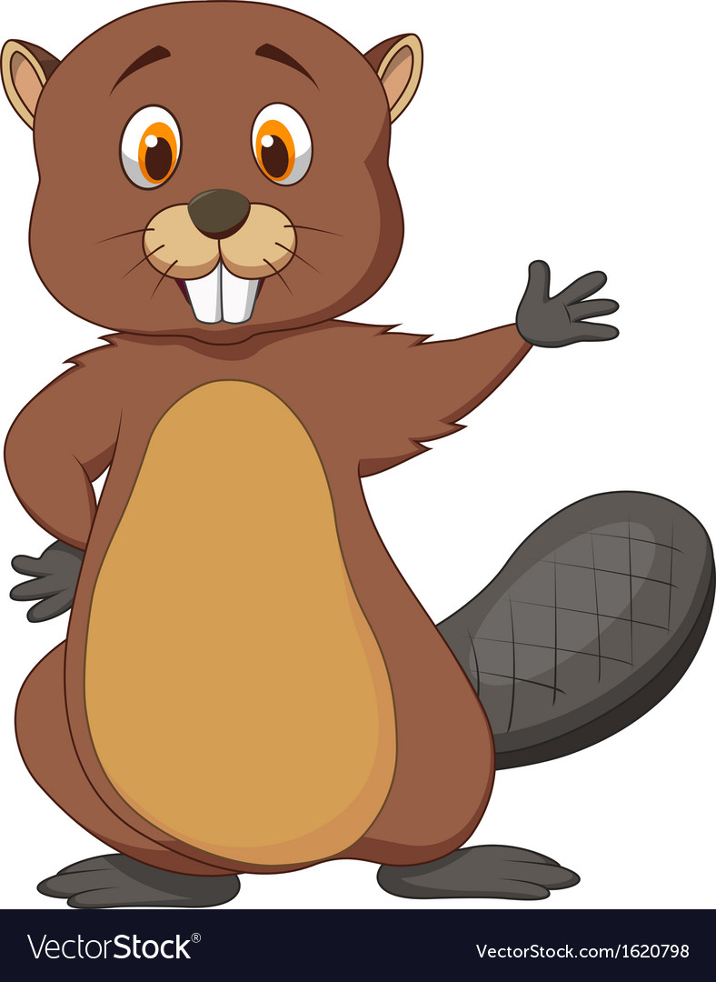 Cute beaver cartoon waving vector | Price: 1 Credit (USD $1)