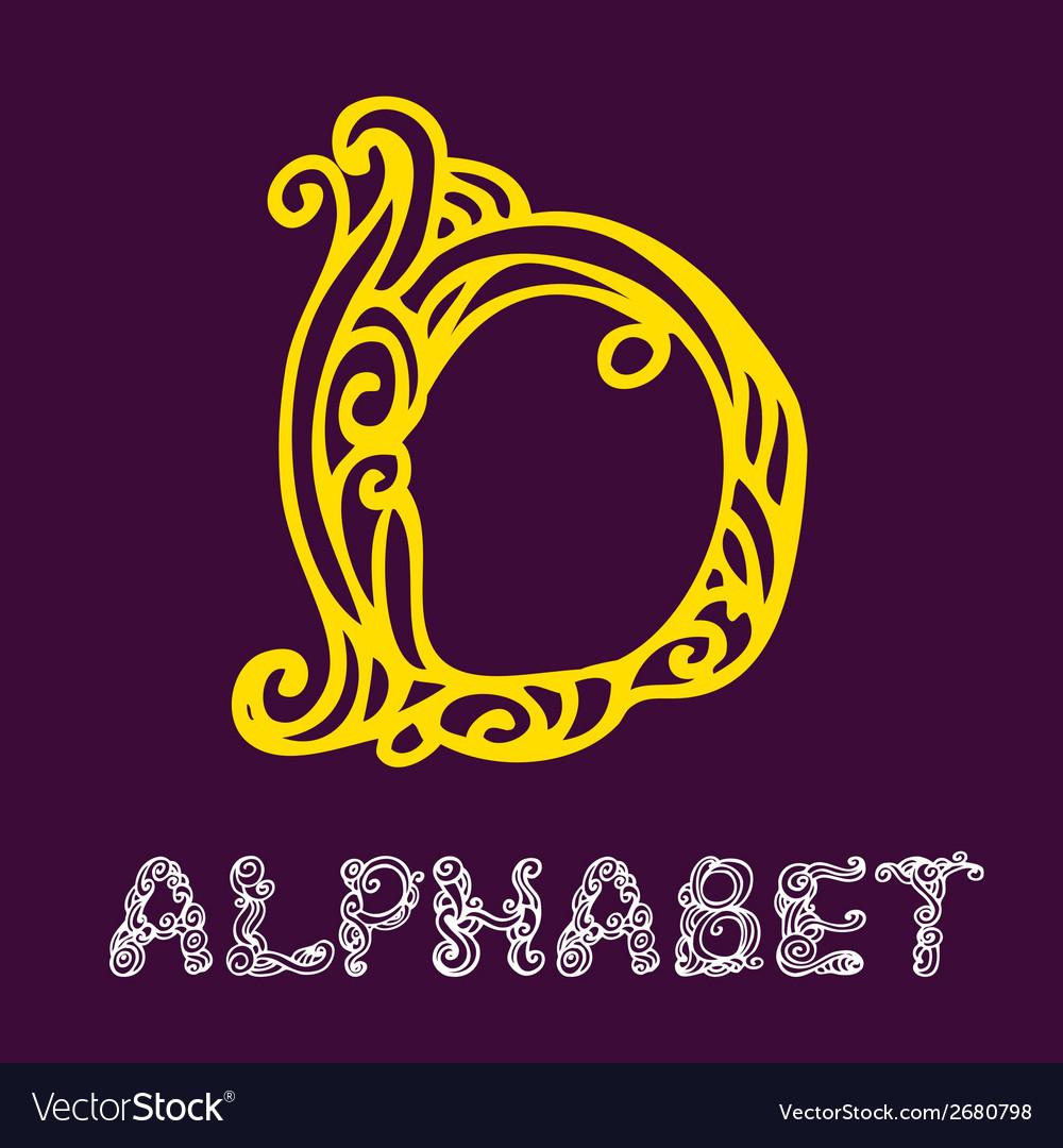 Doodle hand drawn sketch alphabet letter d vector | Price: 1 Credit (USD $1)