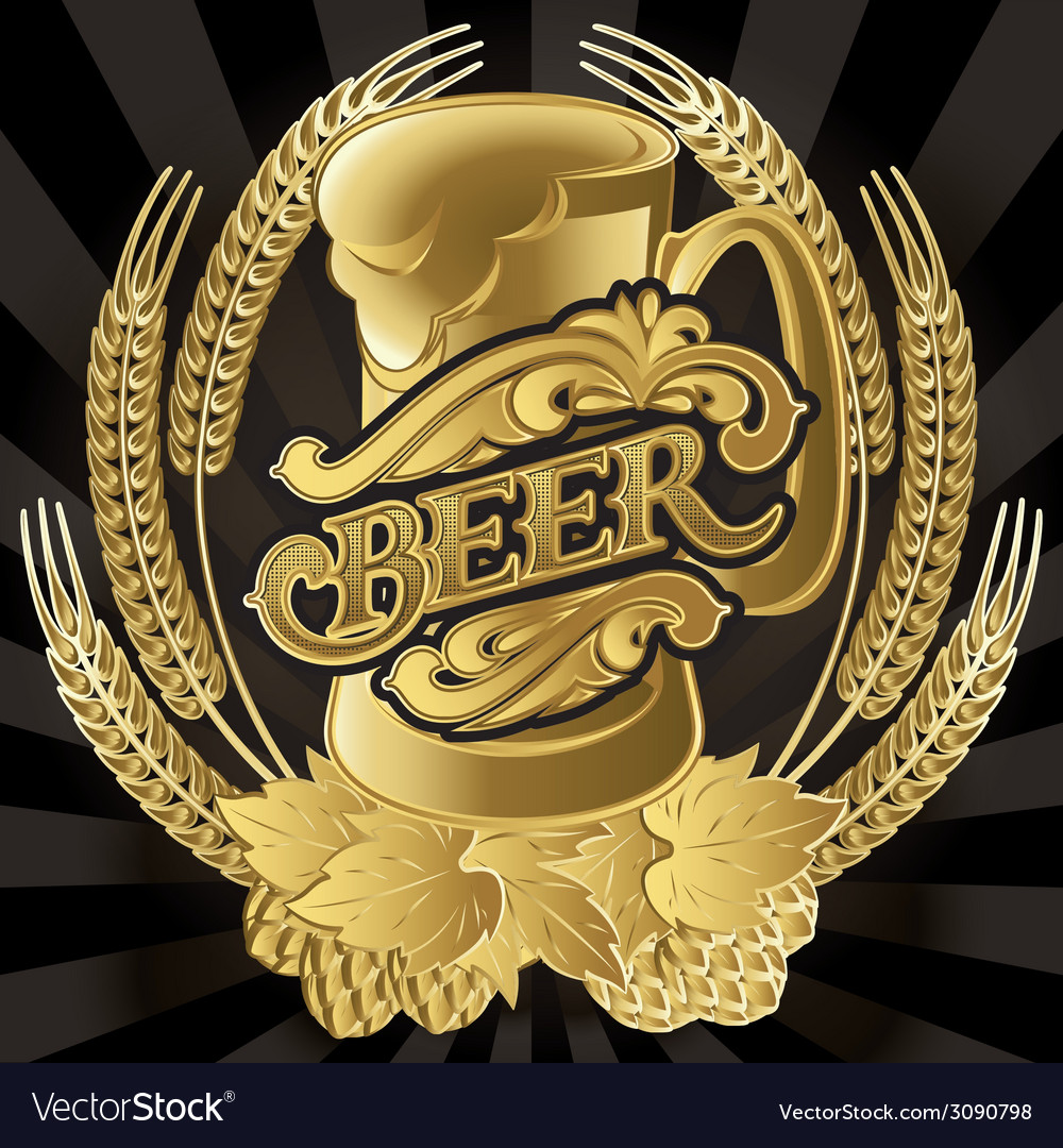 Emblem beer barrel and barley for the menu vector | Price: 1 Credit (USD $1)