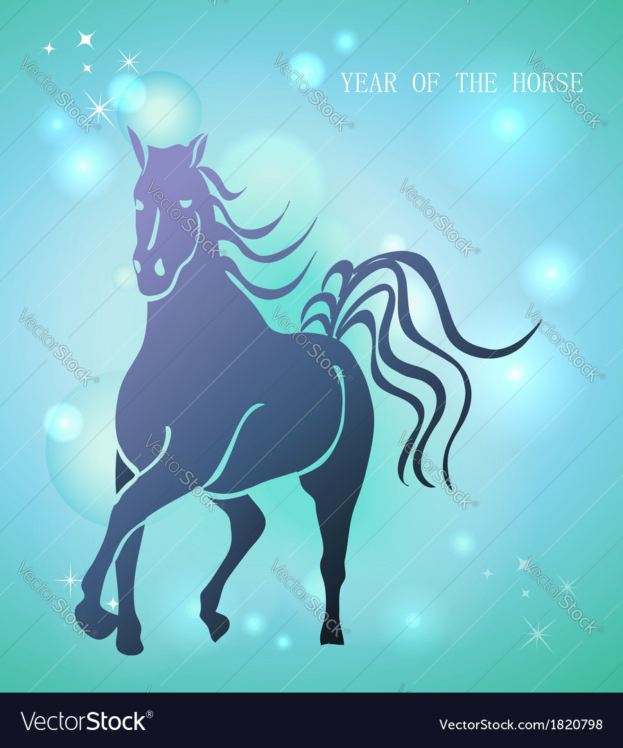 Happy chinese new year of horse 2014 postcard vector | Price: 1 Credit (USD $1)