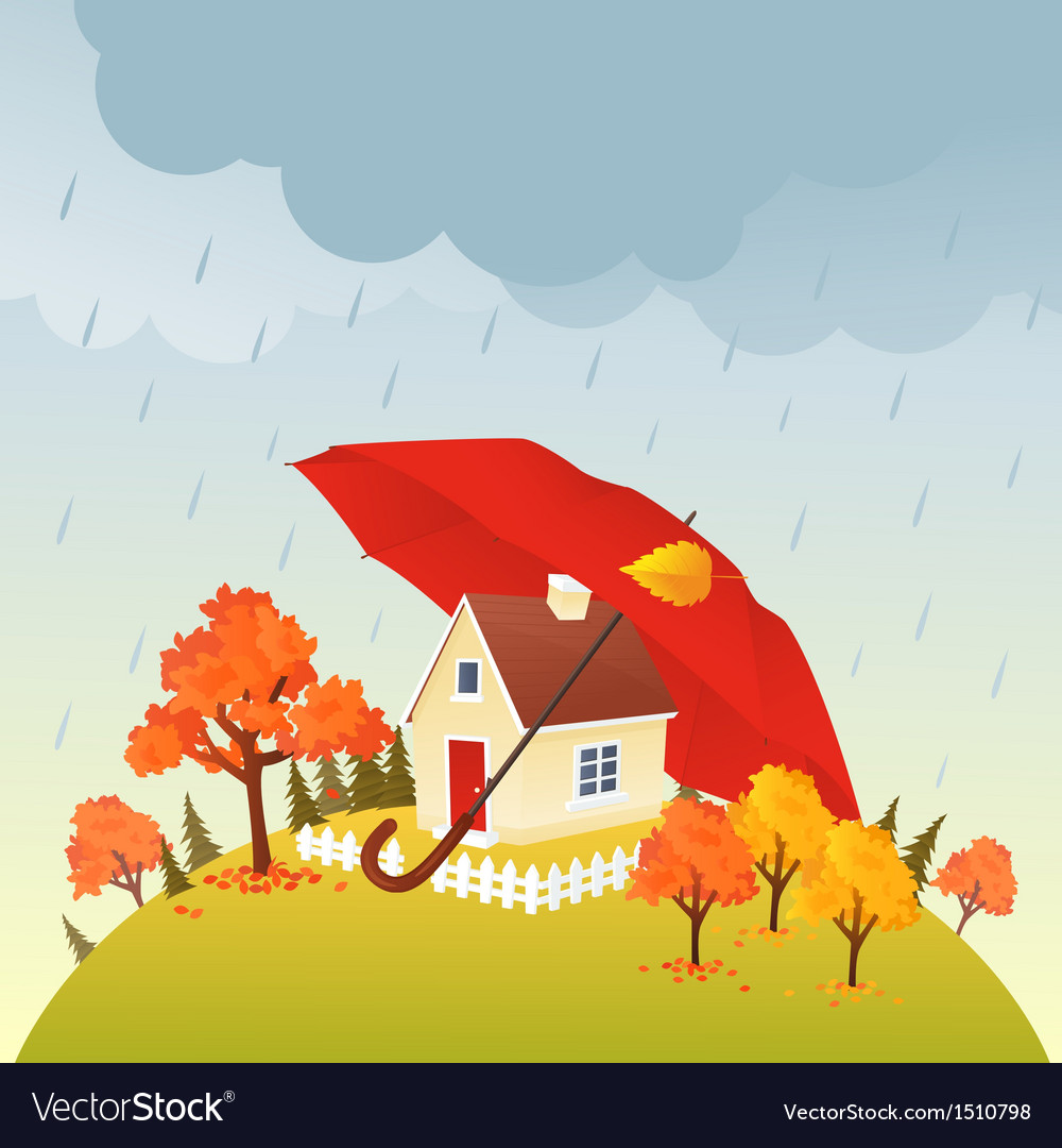 House under umbrella vector | Price: 3 Credit (USD $3)