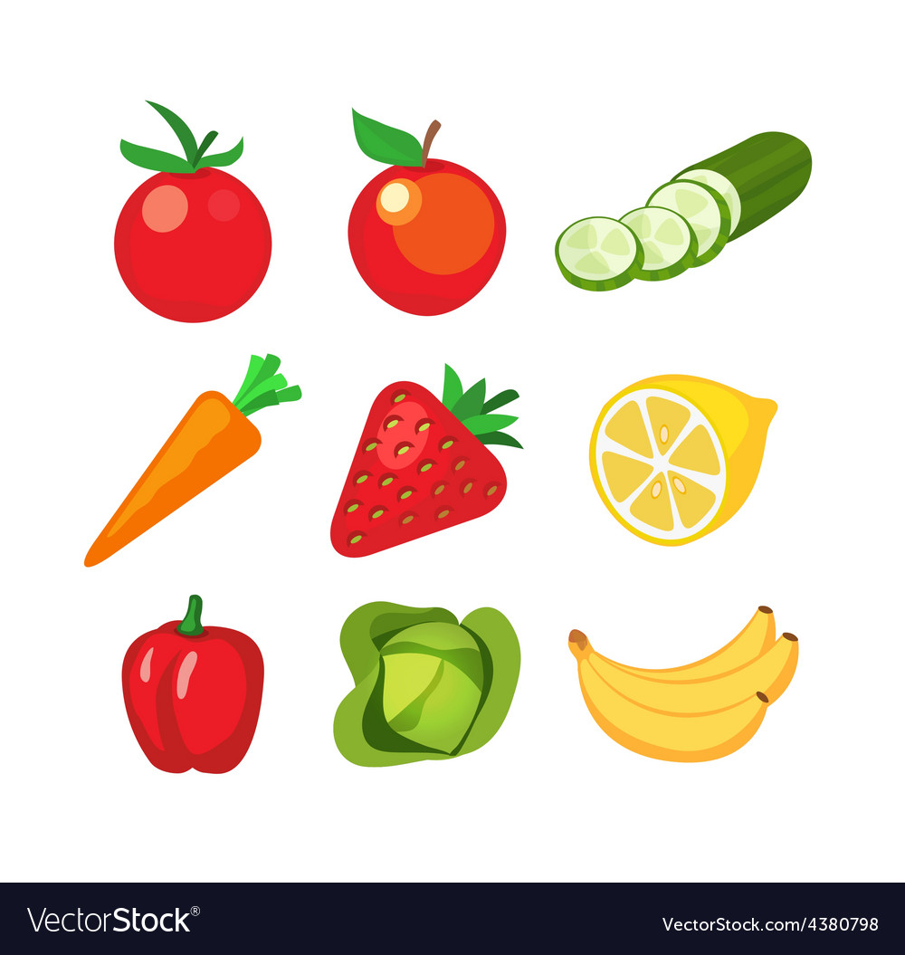 Icons of fruits and vegetables vector | Price: 1 Credit (USD $1)