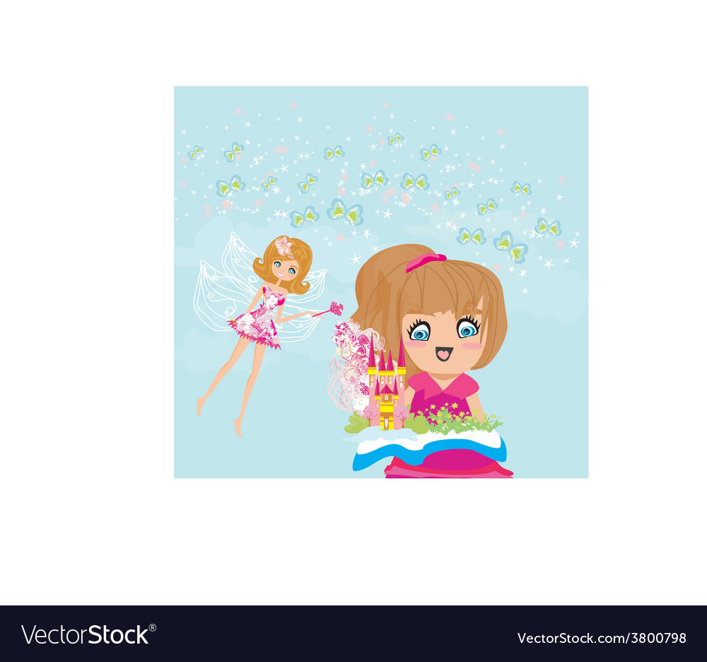 Little girl reading fairy tales vector | Price: 1 Credit (USD $1)