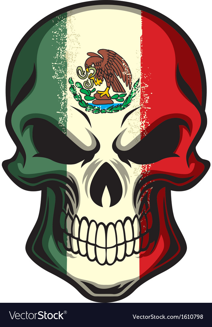 Mexico flag painted on a skull vector | Price: 1 Credit (USD $1)