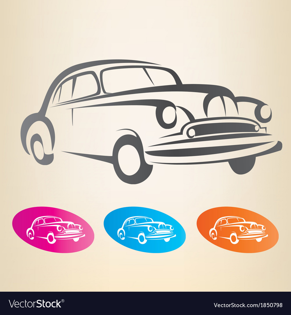 Old retro car symbol vector | Price: 1 Credit (USD $1)