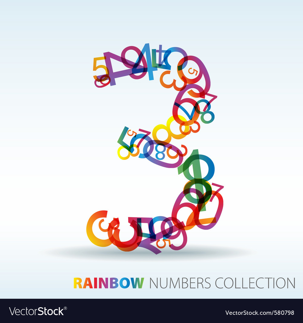 Rainbow number three vector | Price: 1 Credit (USD $1)