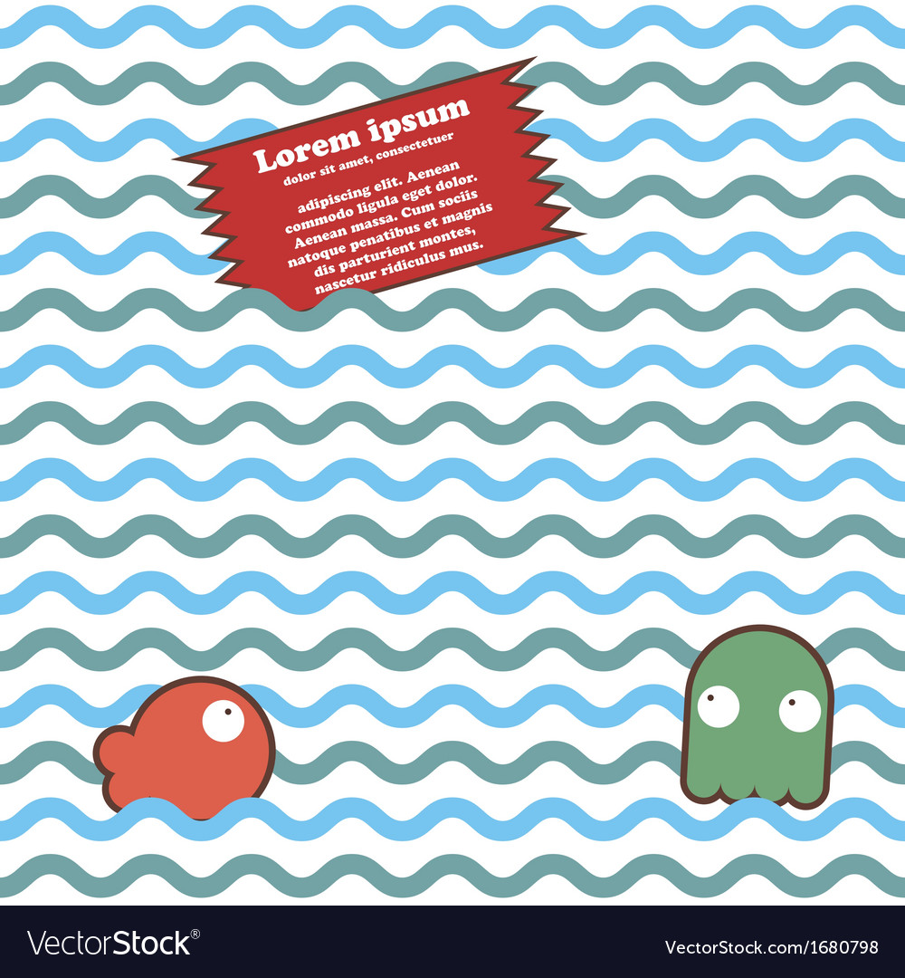 Seamless marine wave pattern with fish octopus vector | Price: 1 Credit (USD $1)