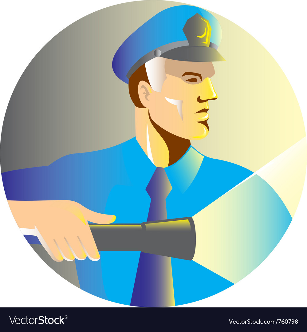 Security guard policeman flashlight vector | Price: 1 Credit (USD $1)