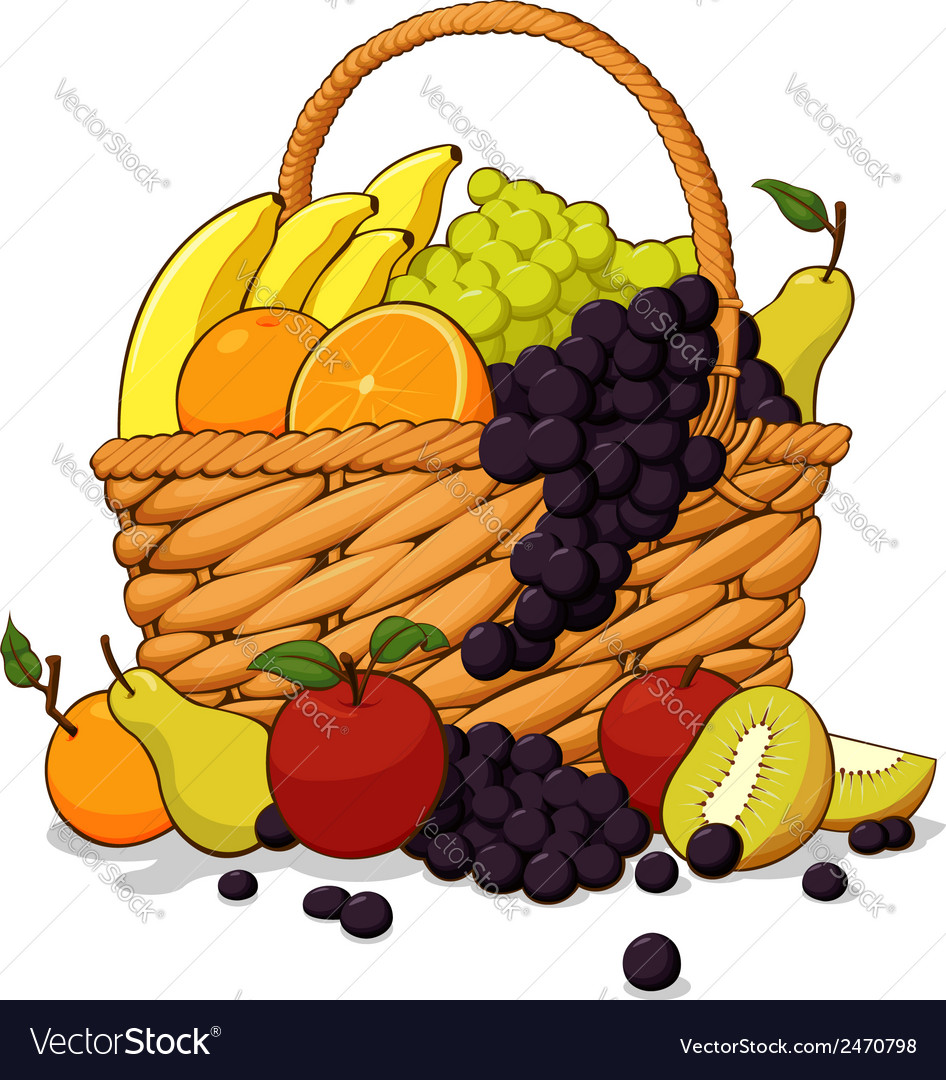 Variety of fresh fruits in a basket vector | Price: 1 Credit (USD $1)