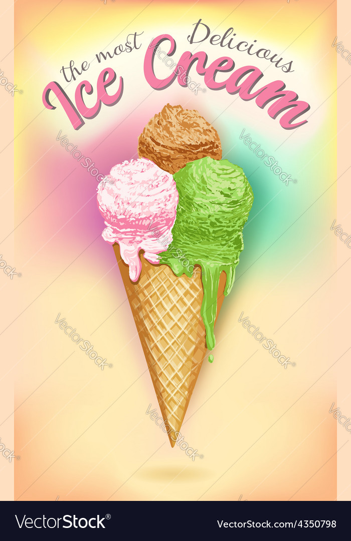 Vintage ice cream poster vector