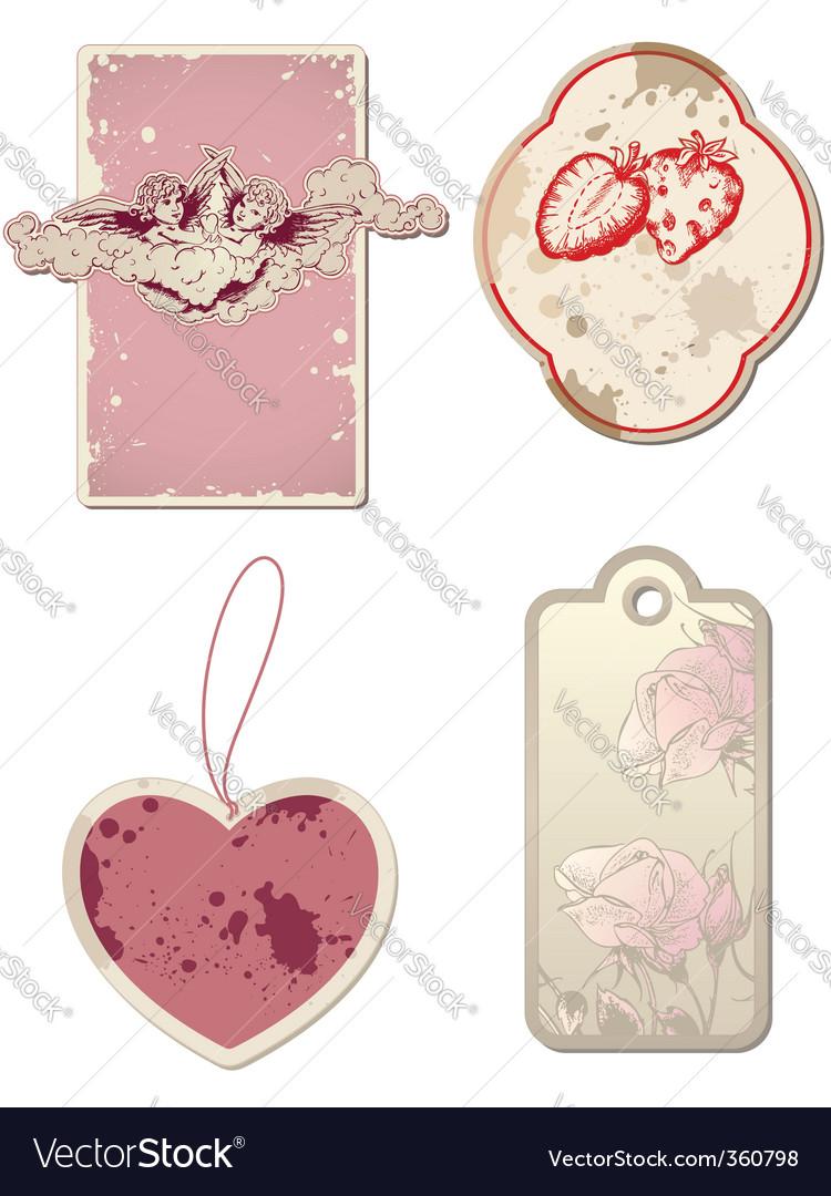 Vintage valentines day labels vector   Price: 1 Credit (USD $1)