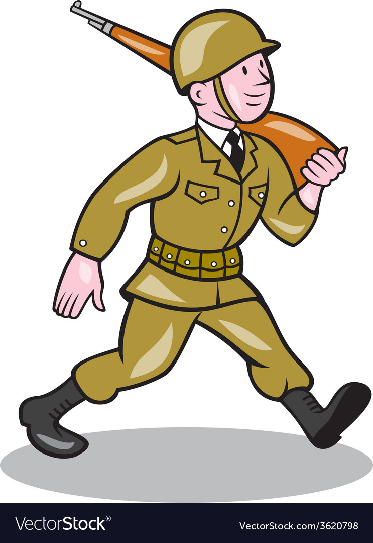 World war two soldier american cartoon isolated vector | Price: 1 Credit (USD $1)