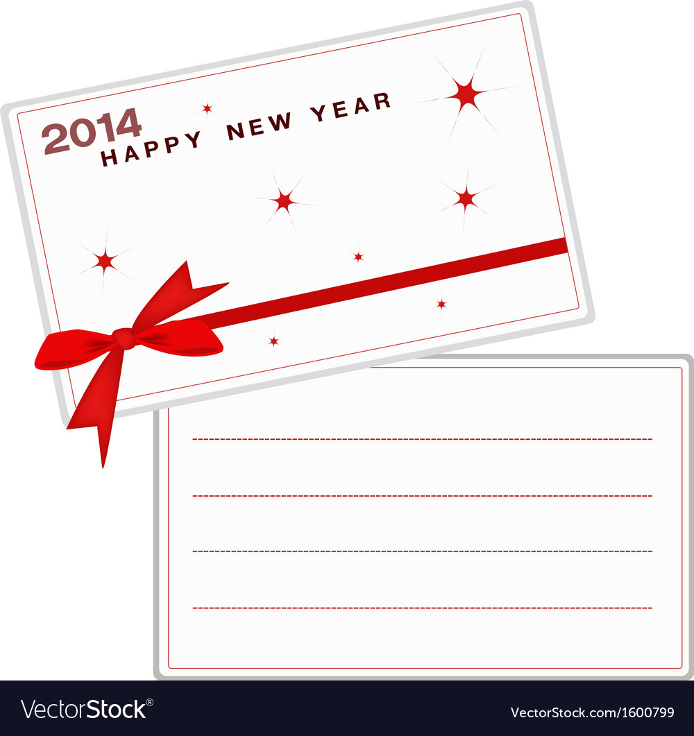 2014 happy new year cards with red ribbon vector | Price: 1 Credit (USD $1)
