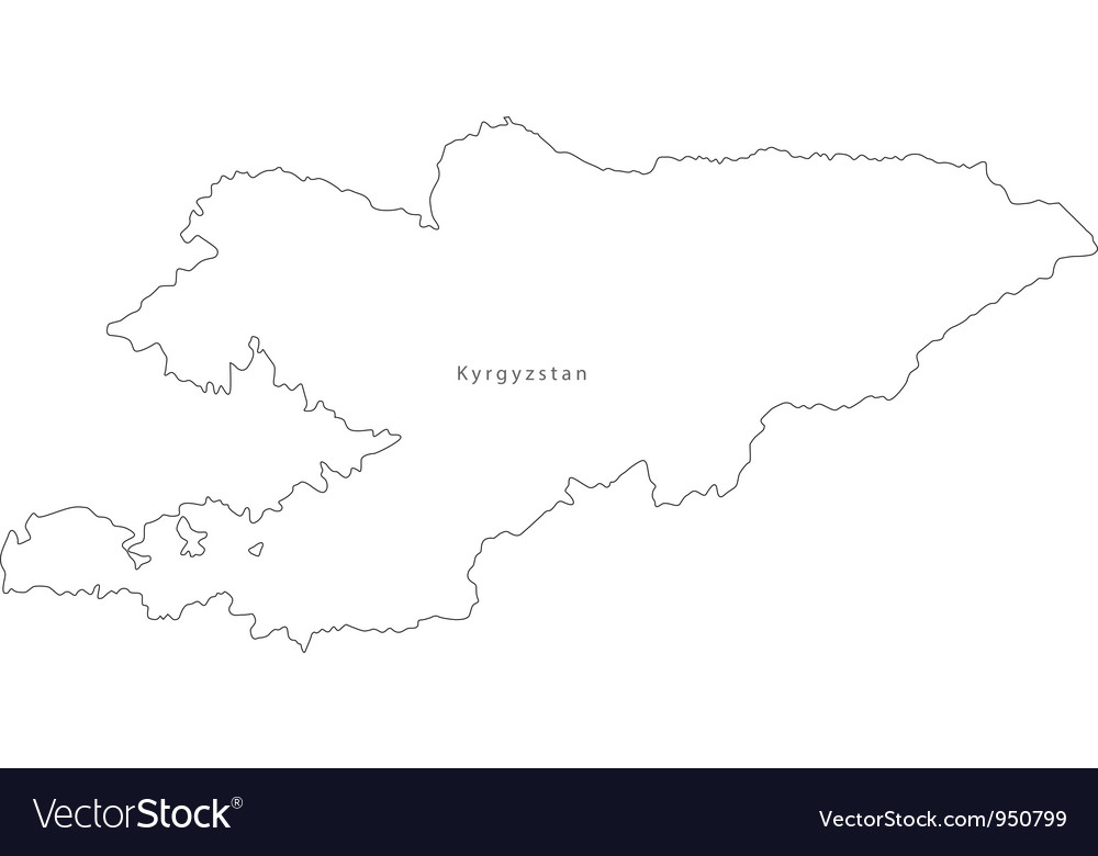Black white kyrgystan outline map vector | Price: 1 Credit (USD $1)