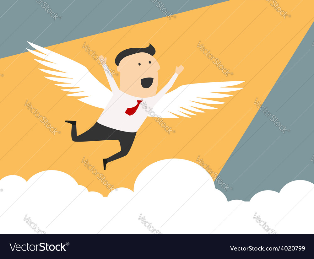 Businessman flying to the peak of career vector | Price: 1 Credit (USD $1)