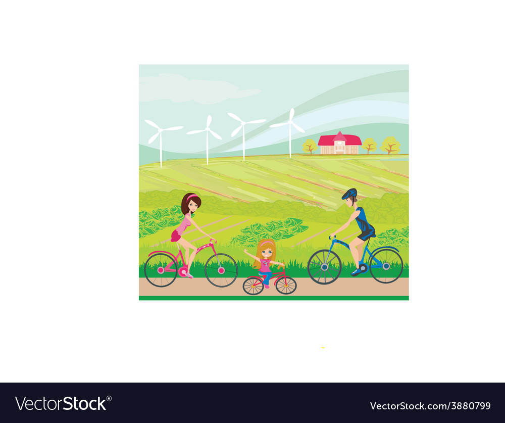Cycling on a sunny day vector | Price: 1 Credit (USD $1)