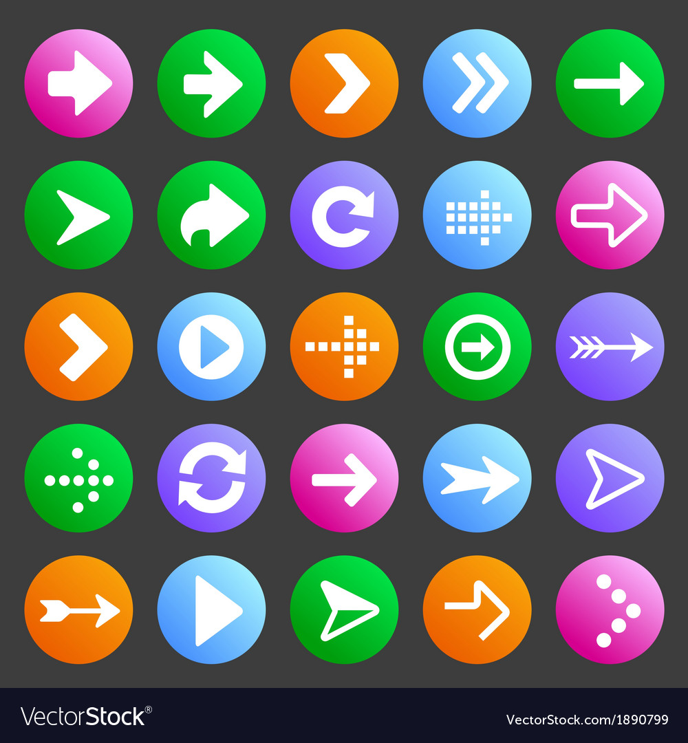 Flat and round arrow icons vector | Price: 1 Credit (USD $1)