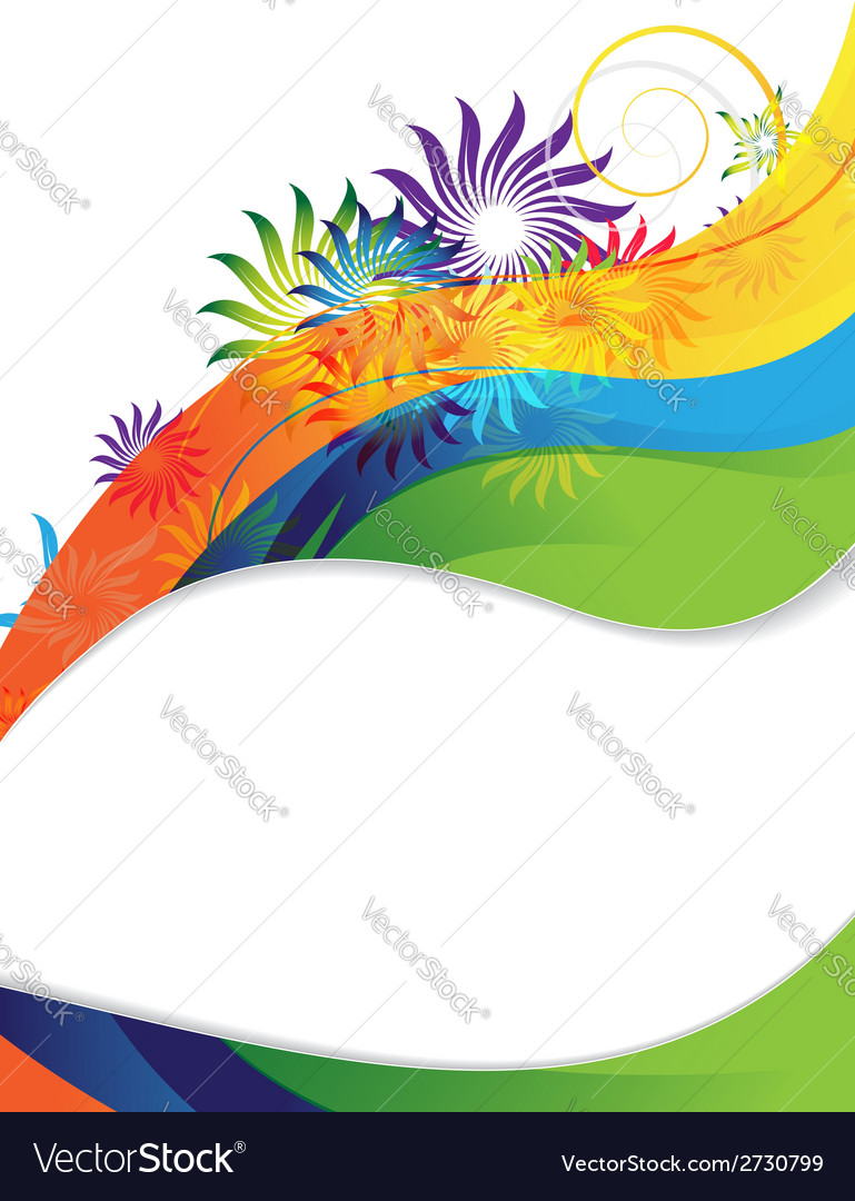 Rainbow flower frame vector | Price: 1 Credit (USD $1)