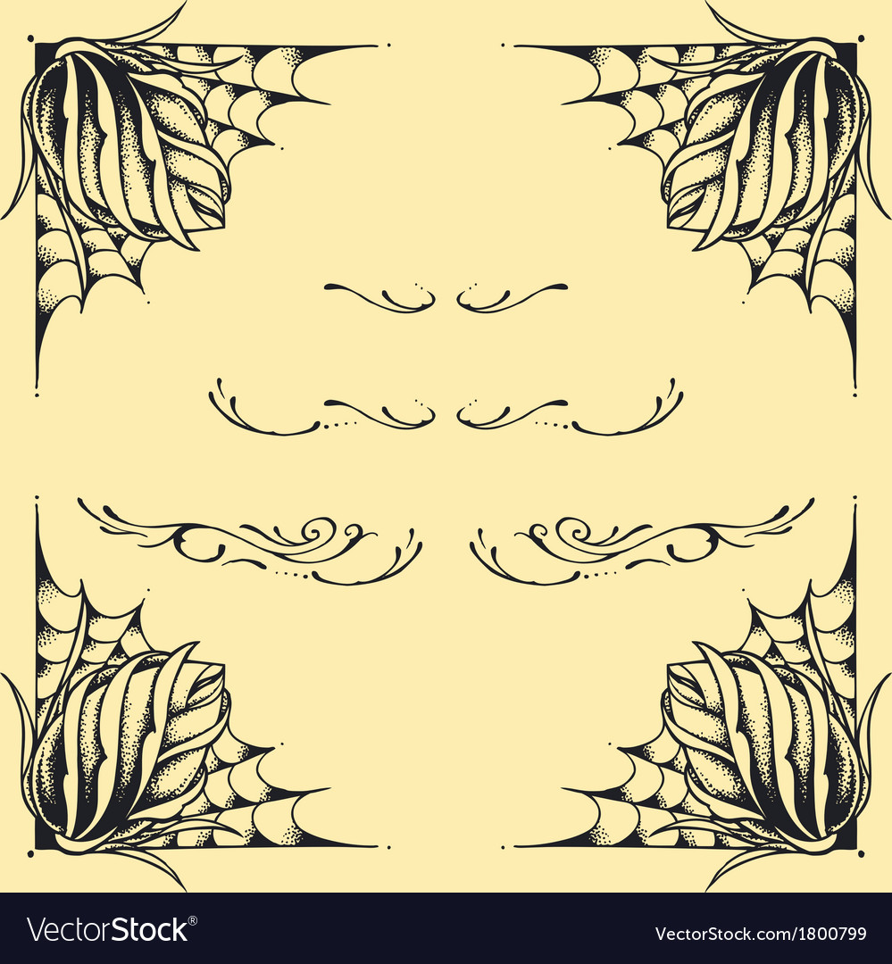 Roses frame oldskool tattoo style design vector | Price: 1 Credit (USD $1)