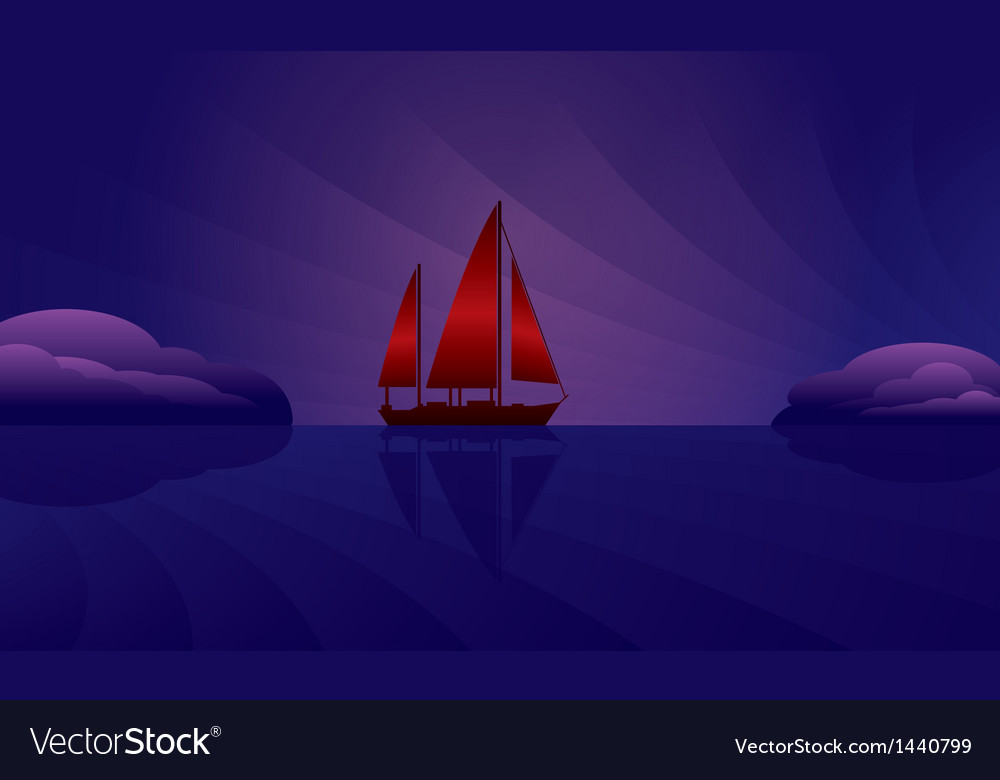 Sailing ship on the night skyline vector | Price: 1 Credit (USD $1)