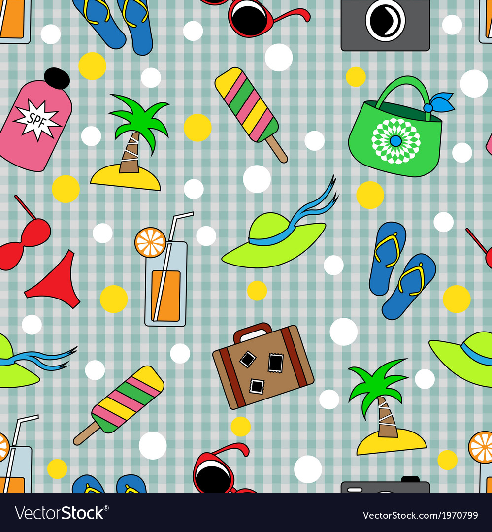 Seamless background with different beach items vector | Price: 1 Credit (USD $1)