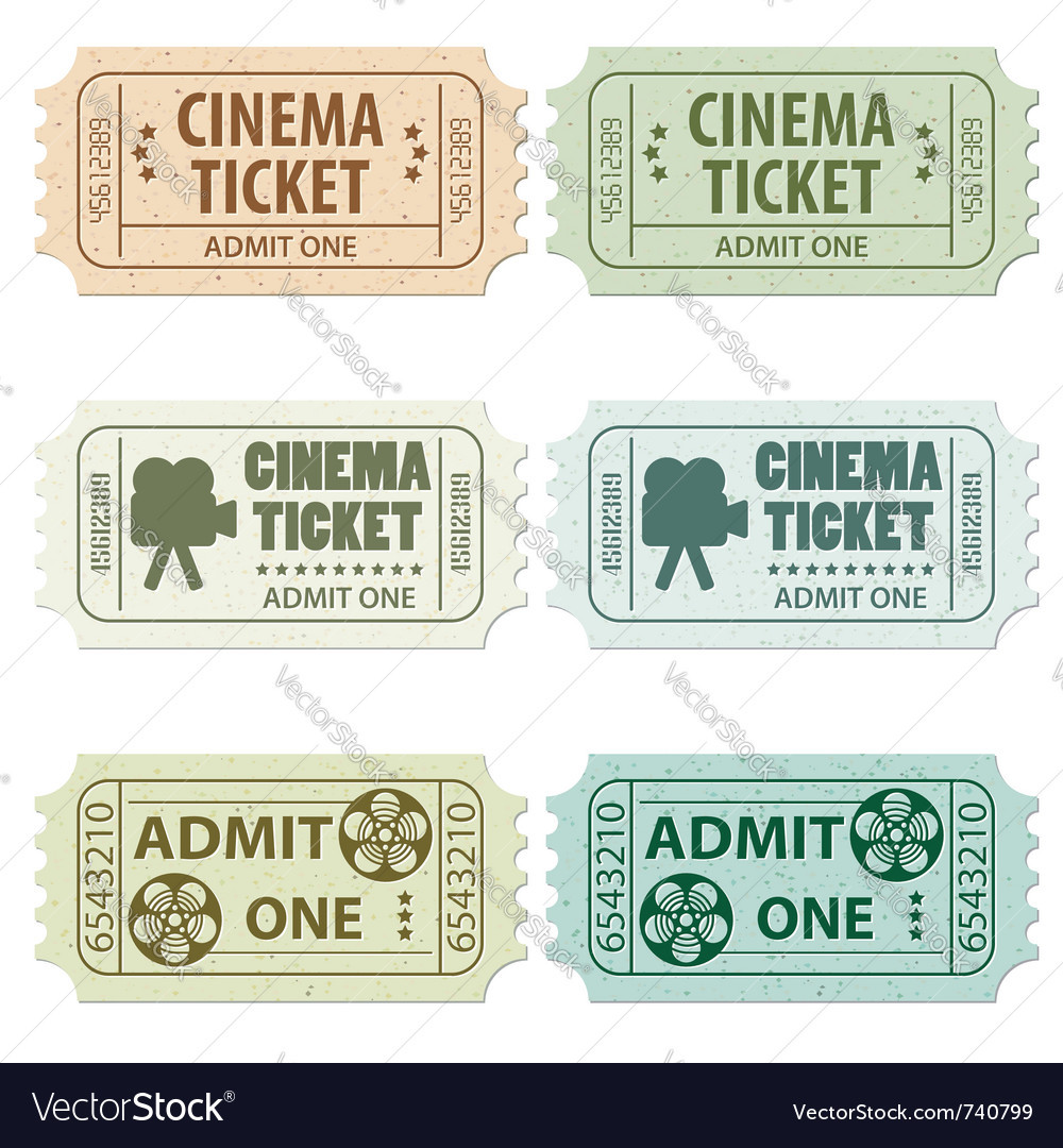 Set of cinema tickets vector | Price: 3 Credit (USD $3)