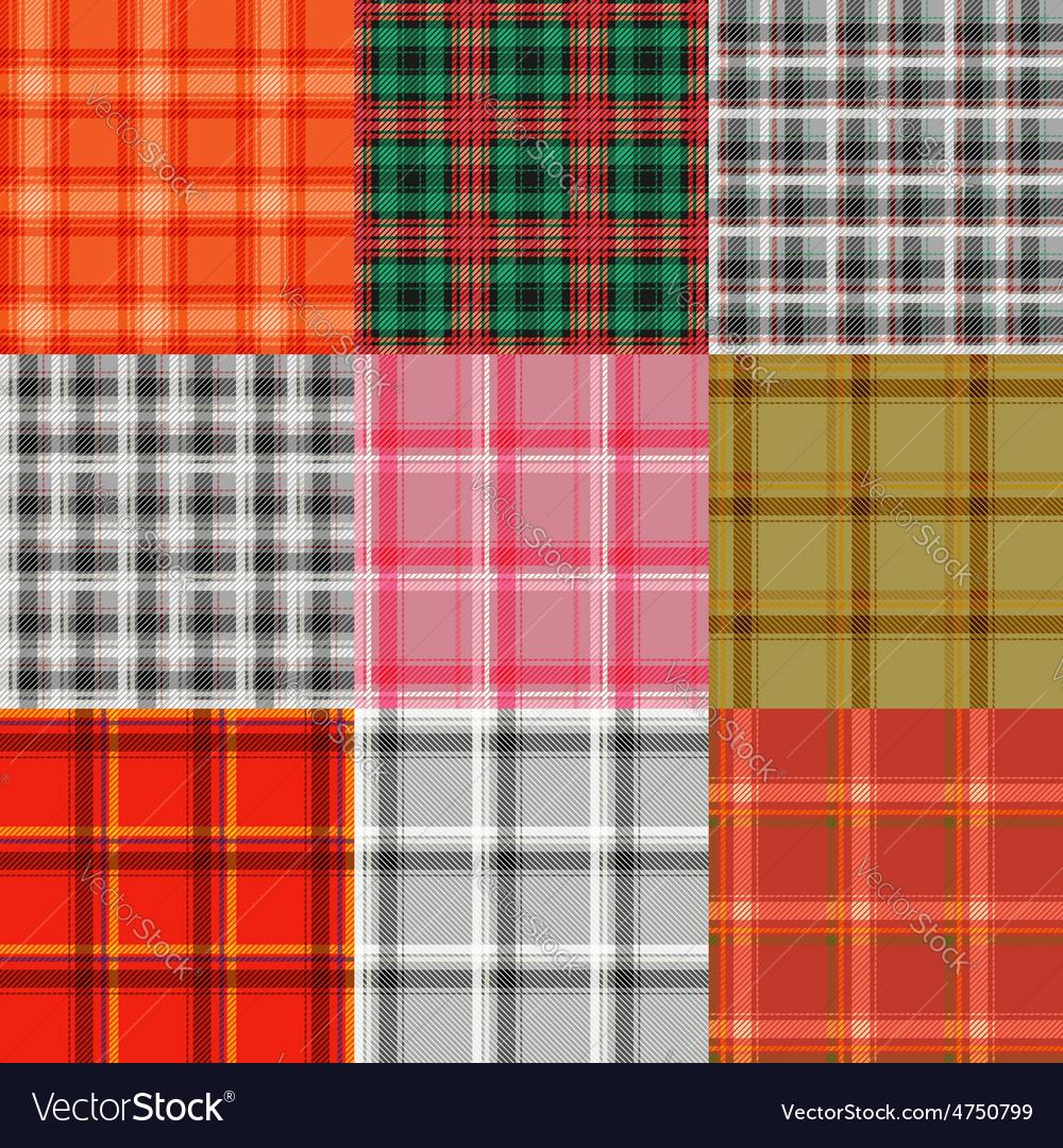 Set of tartan plaid varicoloured pattern vector | Price: 1 Credit (USD $1)