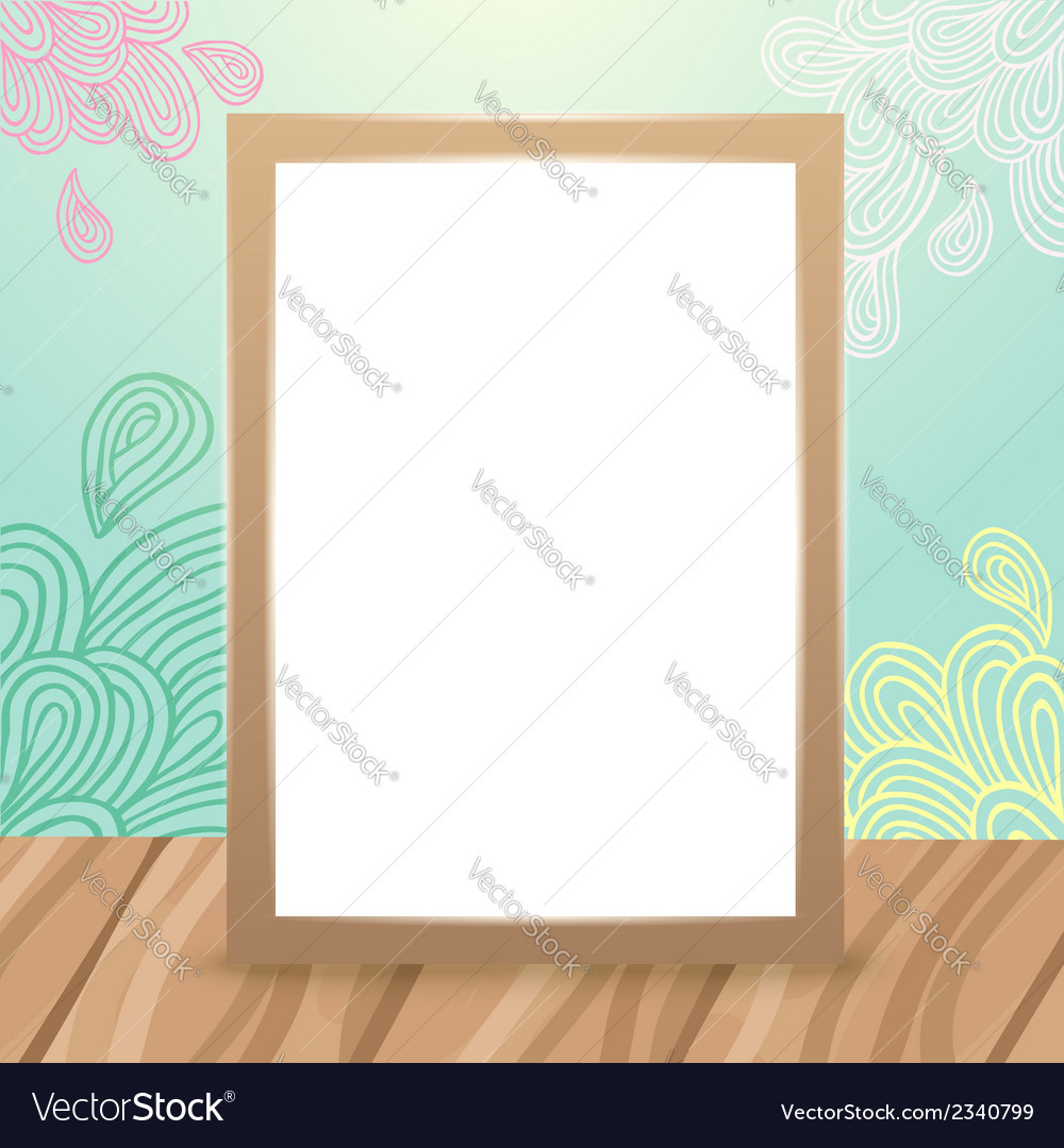 Wood frame on the desk with doodles vector | Price: 1 Credit (USD $1)