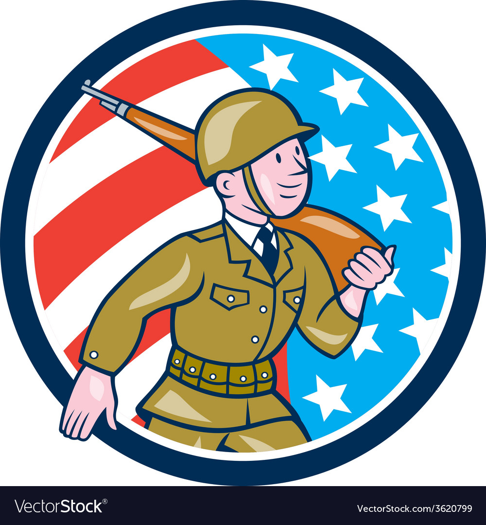 World war two soldier american marching cartoon vector | Price: 1 Credit (USD $1)