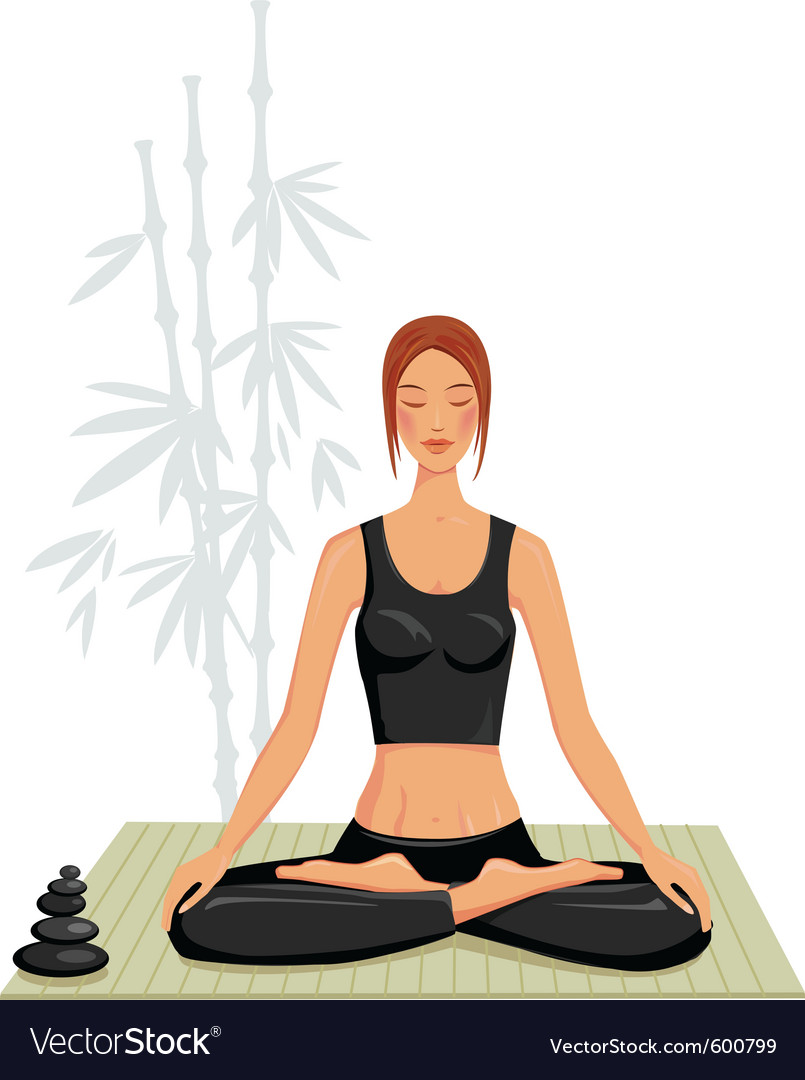 Young woman doing yoga vector | Price: 3 Credit (USD $3)