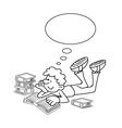Cartoon boy reading vector