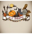Hand-drawn halloween invitation card vector