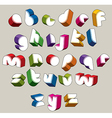 3d futuristic font bright and colorful letters vector