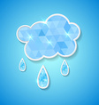 Hexagonal cloud with rain drops vector