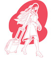 Sketch of woman tourist travelling vector