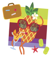 Cute pineapple on vacations vector