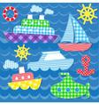Sea transport stickers vector