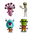 Halloween monsters isolated sketch style creatures vector